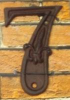 Gußeisen Hausnummer Nummer 7 Nostalgie Zahl Ziffer Lilie Landhaus ca. 8*11cm