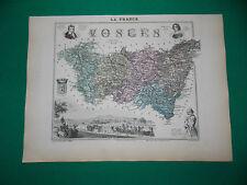 VOSGES CARTE ATLAS MIGEON Edition 1885, Carte + fiche descriptive