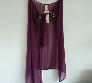 BNWT Gideon Oberson Stunning Beach Cover Up in Plum Colour Size M, RRP £100+