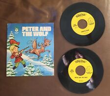 "Peter and the Wolf & Puff The Magic Dragon 45 RPM Record Peter Pan 7""  Set"