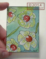 Original Fine Art ACEO Miniature PAINTING Cathy Peterson FLOWER POWER 3 Daisies