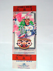 1997 Arie Luyendyle  Winner 1998 INDIANAPOLIS Indy 500 AdmIssion Ticket