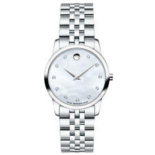 BOX SET Movado Museum Mother of Pearl Diamond Dial Steel Women's Watch 0606612