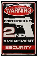 2ND AMENDMENT SECURITY TIN SIGN - GUN AND AMMO METAL POSTER WALL ART DECOR
