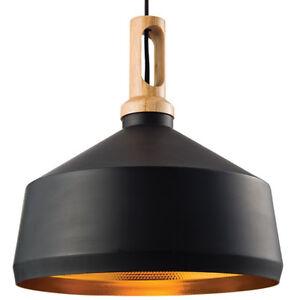 Hanging Ceiling Pendant Light–MATT BLACK, WOOD Shade–Industrial Lamp Bulb Holder