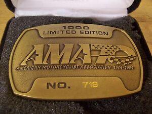 Vintage American Motorcycle Association AMA 70 Year Brass Belt Buckle