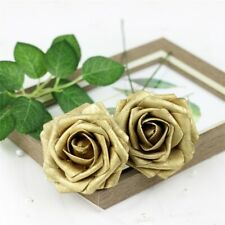 5pcs Colourfast Foam Roses Artificial Flowers Wedding Bouquet Party Decor Gold