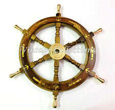 "Antique Nautical Wooden 24"" Ship Wheel Brass Ring Ship Steering Wheel Wall Decor"