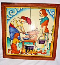 Four Vintage Tiles in a frame Family Castanys Slaughtering Pig 11 1/2'  Dutch
