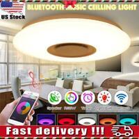 60W Bluetooth Speaker LED Music Ceiling Lamp Remote Control RGB Light KTV Home