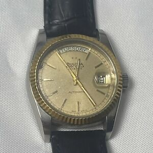 Bulova Mens Watch Super Seville Day & Date Calendar Automatic Gold Dial Leather