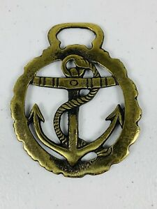🔥 Vintage Brass Horse Harness Medallion • Naval Anchor