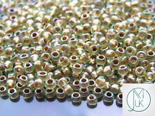 100g GOLD silver-lined verre rocailles-Choisir Taille 6//0 8//0 11//0 4, 3, 2 mm