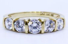 Diamonique 14K Solid Yellow Gold Round CZ 5-Stone Wedding Ring Band Size 6