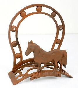 Iron Garden Hose Hanger Western Style Horse & Horseshoe - Rusted Weathered Style