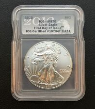 2012 American Eagle .999 Silver Coin ICG-MS70 First Day of Issue (1973 of 3957)