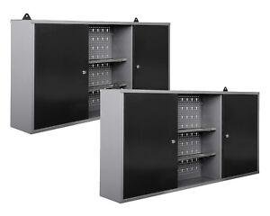 Ondis24 2 x Werkstattschrank Werkzeugschrank abschließbar mit Lochwand Metall