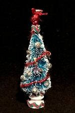 Custom Bottle Brush Christmas Tree w/ Ceramic Conductor & Vintage Ric Rack Base