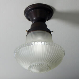 Semi-Flush Ceiling Light Vintage Etched Glass Shade New UL Listed Fixture