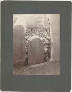1674 Gravestone Charlestown Massachusetts Mounted 1902 Cemetery Grave Photograph