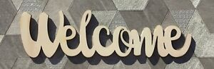 """""""Welcome"""" greeting sign, raw laser cut 6mm poplarwood plaque, wreath centre"""