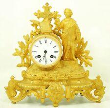 Stupendi fuoco-Placcati Oro Francese Orologio Camino circa 1860.