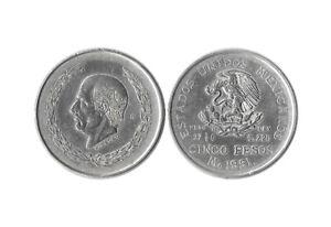 MEXICO 1951 5 PESO SILVER HIDALGO PESO 27 7/9 G Ley 0.720 KM# 467 VG