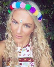 Pom Pom Multi Coloured Alice Hair Head Band Choochie Hippy Boho Festival Ibiza