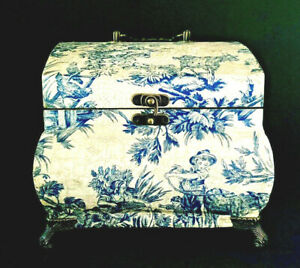Vintage Blue and White Toile Decorative Wooden Keepsake Box with Scrolled Feet