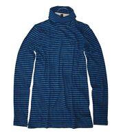 J Crew - Women's XS - NWT - Tonal Blue Striped Cotton Tissue Turtleneck Tee F672