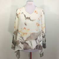 Travelers Collection By Chico's Women's Chiffon Beige Floral Blouse Size Medium