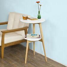 SoBuy ® 2 piani rotonda in legno Side Table, Tavolino da tè, tavolo finale, FBT39-W, Regno Unito