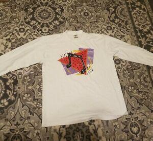 vintage/ long sleeve tshirt /large/ music note (UNISEX) (WHITE) 90s