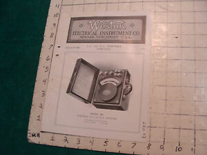 orig. 1915 WESTON Electric inst. co bulletin: A.C. & D.C. PORTABLE AMMETERS