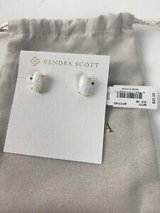 NWT $95 Kendra Scott White Kyocera Opal Betty Earrings - Gold