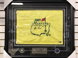 GARY PLAYER Signed Framed 2005 MASTERS Golf Pin FLAG