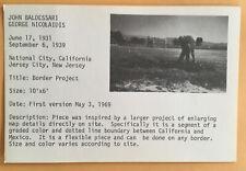 JOHN BALDESSARI postcard 1969 Lucy Lippard 557,087 exhibit seattle vancouver B
