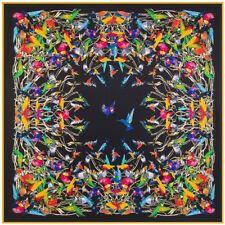 100% twill silk scarf130cmx130cm,vibrant hummingbird design.Packed in zipper bag
