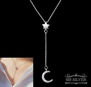 Star Moon Necklace 925 Sterling Silver Crystal Rhinestone Chain Womens Girls