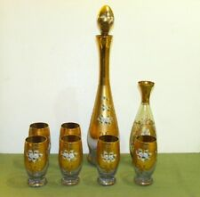 Moser Floral Gold Enameled Decanter Glasses and Vase Bohemian Czech Glass