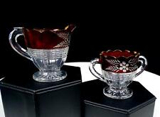 """EAPG US GLASS HORIZONTAL THREADS RUBY STAINED FLORAL 2"""" CREAM & SUGAR BOWL 1850-"""