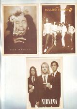 Lot 3  Cartes Musique  Bob Marley - Nirvana - Rolling Stones