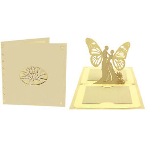 CARTE AMOUR COUPLE POP-UP KIRIGAMI 3D 180° 145x145mm GRIS/ECRU + ENVELOPPE