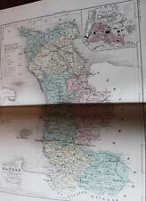 1850 Carte Géographique Atlas époque couleur Département Manche 50 St Lô