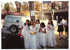 Vintage 80s PHOTO Group Young First Communion? Girls In Their White Dresses