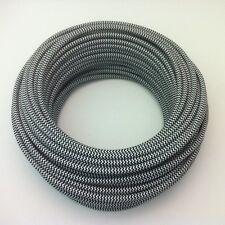 50m Design Textilkabel, 2x0,75, Schwarz-Weiß Zick-Zack, Premium EU Stoffkabel