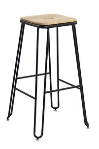 2 x Solid Steel & Ash Wood Seat Industrial Bar Stool
