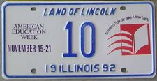 ILLINOIS SPECIAL EVENT LICENSE PLATE for 1992 American Education Week No. 10
