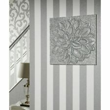 GLITTERATI PLATINUM GLITTER STRIPE WALLPAPER - ARTHOUSE 892503 NEW