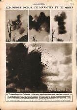 Bataille de la Marne explosions d'obus marmites et mines 1915 WWI ILLUSTRATION